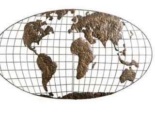Iron World Map Wall Art