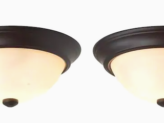 Project Source Flushmount Ceiling Fixtures Bronze Finish Frosted Glass Shade Set of 2