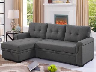 Perreux linen Reversible Sleeper Sectional Sofa