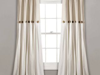 linen Button Window Curtain Single Panel