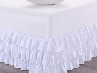 Waterfall 3 layer Ruffled 14in Drop Bedskirt White
