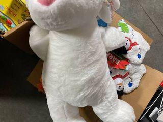 large 17  Gray With Blue Satin Ears Bunny Rabbit Animal Adventure Plush