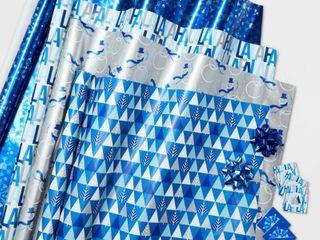 100 sq ft Wrap Packs Ensembles Blues Christmas Gift Wrap   Wondershop