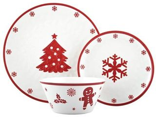 Melange 608410095588 36 Piece 100  Dinnerware Set Christmas Collection Red Xmas Shatter Proof and Chip Resistant Melamine Dinner Plate  Salad Plate   Soup Bowl  12 Each  10 5  White