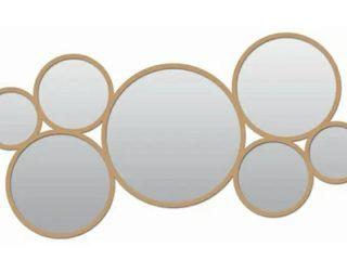 Framed Decorative 15X33 Round Metal Mirror  Golden  Round   Antique Gold   33X15