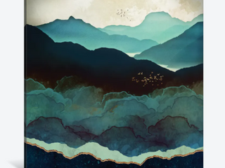 iCanvas  Indigo Mountains  by SpaceFrog Designs Canvas Print