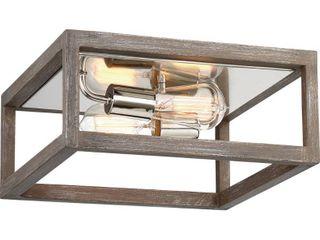 Nuvo lighting 60 6482 Driftwood   Polished Nickel Bliss 2 light 13  Wide Flush Mount