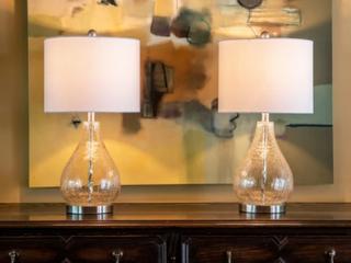 Silver Orchid Bert Teardrop Table lamps  Set of 2  Retail 89 98