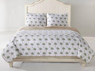 Panama Jack Palm Tree 3 Piece Cotton Reversible Quilt Set