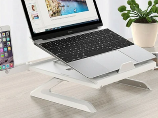 Adjustable laptop Desk Stand with Phone Holder   White   1pc