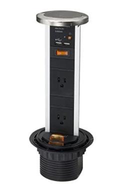 PWaterproof 2 Plug Port Pop Up Power Bar Outlet Receptacle Dual Usb Connector