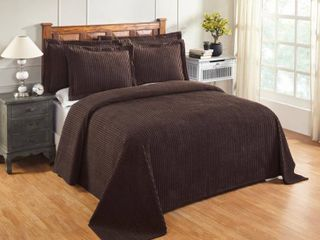 Better Trends Julian Collection in Solid Stripes Design 100  Cotton Tufted Chenille  Full Double Bedspread  Chocolate