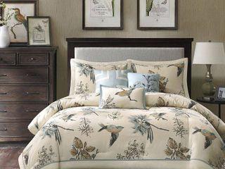 Tan Blue Ramsey Comforter Set Queen 7pc