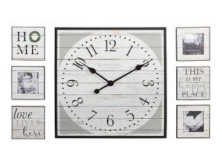 FirsTime   Co  Shiplap Wall Clock   Frame 7 piece Set  White