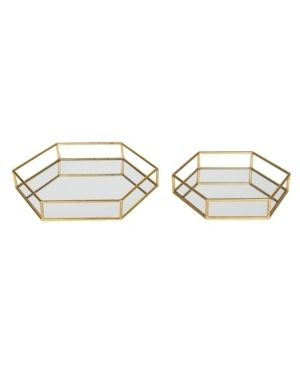 Kate and laurel Felicia Decorative Mirrored Tray 2 Piece Gold