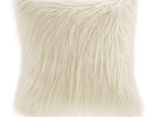 20 x20  Adelaide Faux Fur Square Throw Pillow Ivory