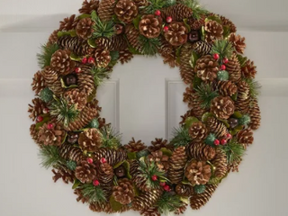 Plano 18 5  Pine Cone and Glitter Artificial Christmas Wreath  Natural