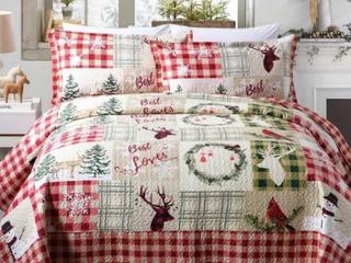 Rustic Patchwork Christmas Quilt Bedspread Set