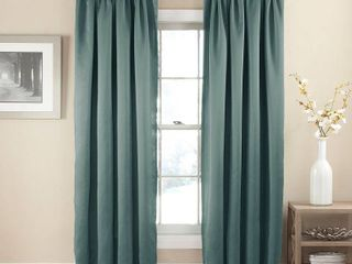 84 x54  Solid Thermapanel Room Darkening Curtain Panel River Blue   Eclipse Set of 2