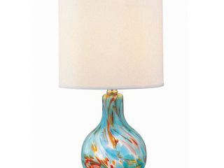 lite Source lS 20073 Aqua Glass Body   Off White Fabric Shade Table lamp From The Pepita