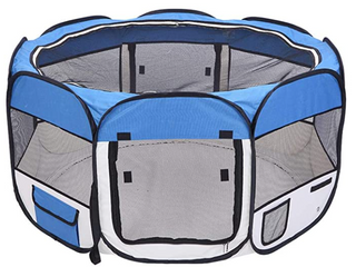 HOBBYZOO 45  Portable Foldable 600D Oxford Cloth   Mesh Pet Playpen Fence with Eight Panels Blue