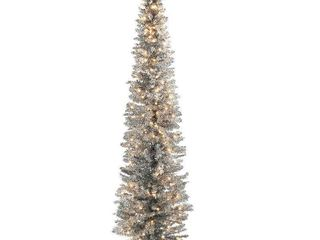 6ft National Christmas Tree Company Silver Tinsel Artificial Pencil Christmas Tree 150ct Clear