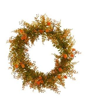 Nearly Natural Autumn Fern Artificial Wreath