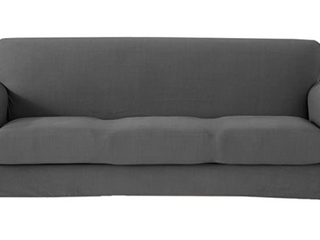 Great Bay Home Knitted Jacquard Stretch Frost Gray Sofa SlipCover