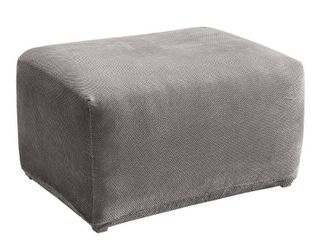Stretch Pique Oversized Ottoman Flannel Gray   Sure Fit