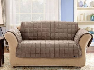 Antimicrobial Deluxe Comfort Quilted Sofa Furniture Protector Sable   Sure Fit