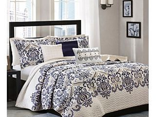 King Size Cascade Scroll Quilted Coverlet Set   6 Piece