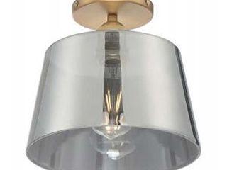 Nuvo Motif 1 light 10  Semi Flush w  Smoked Glass Brushed Brass in Smoked Glass