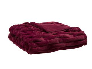 Red Ruched Faux Fur Throw  60 x50