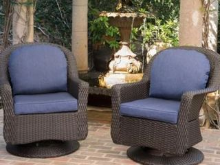 liam Outdoor Wicker Swivel Club Chair with Cushion  Set of 2  by Christopher Knight Home  Retail 544 99