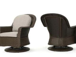 liam Outdoor Wicker Swivel Club Chair with Cushion  Set of 2  by Christopher Knight Home
