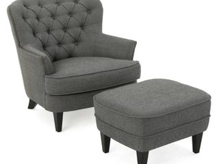 Tafton Tufted Fabric Club Chair with Ottoman by Christopher Knight Home   Retail 481 49