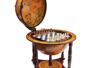 Kassel 13 in  Diameter Globe with 57 Pieces Chess and Checkers Set