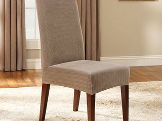 Set of 4 Stretch Pinstripe Short Dining Room Chair Cover Taupe Brown   Sure Fit