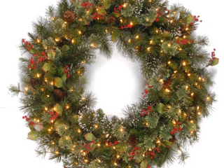 30  Wintry Pine Wreath with Cones  Red Berries  Holly leaves and 100 Clear lights