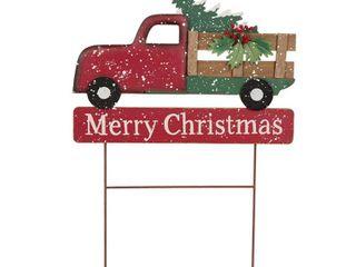24  Iron Wooden Christmas Truck Yard Stake   Glitzhome