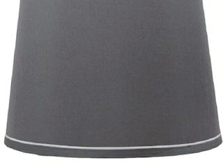 French Drum With White Trim lampshade  10 inch Top  12 inch Bottom  8 5 inch Slant   Gray