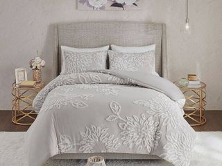Madison Park Veronica King California King 3 Pc  Tufted Cotton Chenille Floral Duvet Cover Set Bedding