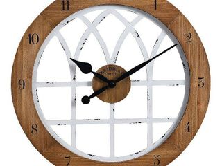 FirsTime   Co  Cathedral Arch Wall Clock  American Crafted  Weathered Brown   White  Wood  18 x 1 x 18 in   18 x 1 x 18 in