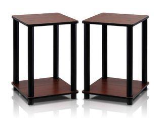 Furinno 99800 Turn N Tube End Table Corner Shelves  2  Dark Cherry Black
