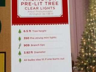Christmas Decor Pre lit Arlington Christmas Tree With 350 Clear Mini lights 6 5