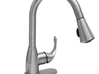 Glacier Bay Market Single Handle Pull Down Sprayer Kitchen Faucet in Stainless Steel  Silver