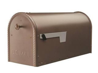 Gibraltar Mailboxes Edwards Post Mount Mailbox Bronze  Measurements  10 9  H A 8 6  W A 22 5  D  Weight  7 5 lbs  Capacity  1475 cu in