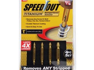 Ontel Speed Out Titanium Damaged Screw Bolt Extractor 4 piece Set w Storage Case