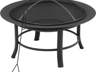 Mainstays 28  Fire Pit with PVC Cover and Spark Guard  Bowl size  28 11  A 4 33  H  71 4 cm A 11 cm  lid size  23  A 3 88  H  has dent at bottom of bowl and a couple dents on opposite sides of bowls rim