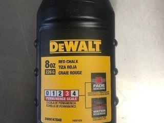 Four bottles of Dewalt chalk line powder as pictured